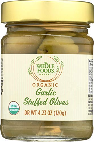 Whole Foods Market, Organic Garlic Stuffed Olives, 4.23 Ounce
