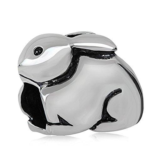 - Choruslove Rabbit Charm Bunny Charm 925 Sterling Silver Lovely Animal Bead for Snake Chain Bracelet Charms Easter Present