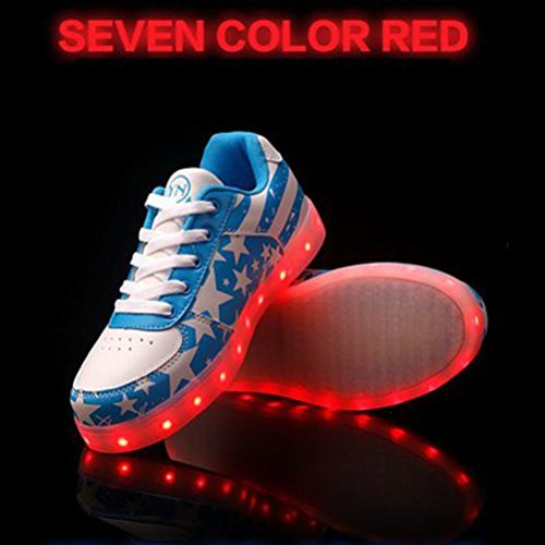 (Present:small towel)JUNGLEST® 7 Colors Stars Led Shoes Light Up For Adults Blue FQt6zi