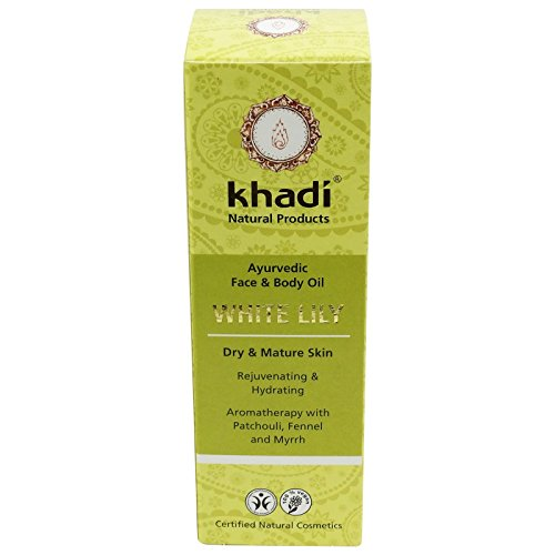 KHADI - Face and Body Oil - White Lily - 3.5 fl.oz - Excellent for dry & mature skin - Increases skin´s elasticity - Supports skin regeneration