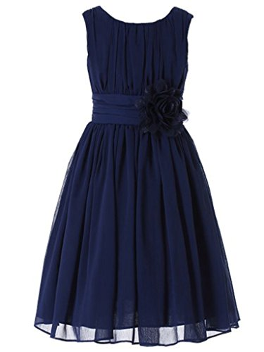Bow Dream Little Girls Elegant Ruffle Chiffon Summer Flowers Girls Dresses Junior Bridesmaids Navy - Blue Dress Girls Ruffle