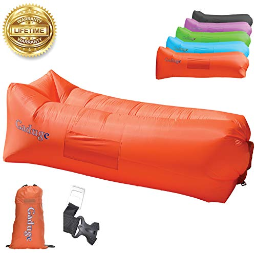 Upgraded 2019 Giant Inflatable Lounger Chair Hangout Sofa with 10 Useful Accessories in 8 Fun Colors! Waterproof Inflatable Couch Bed for Indoor, Outdoor, Pool, Beach, Camping and More!