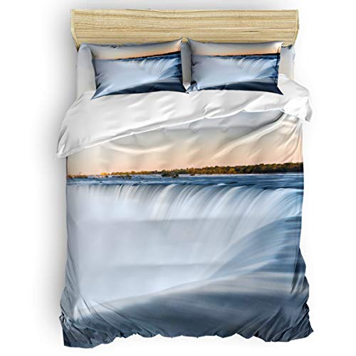EZON-CH 4 Piece Duvet Cover Set Kids Bedding Set Bedroom Collection,Spectacular Niagara Falls in The Sunset Soft Child Bed Sheet Set,Include 1 Duvet Cover 1 Bed Sheets 2 Pillow Cases King Size