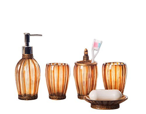 JynXos 5 Pieces Bathroom Accessory Set With Royal Classic Ensemble Resin Sanitary Ware Home Decor Bath Ideas Home Gift - 5 pieces bathroom set is made of high quality resin This collection is constructed in resin to withstand everyday usage 5 pieces Bath Accessory includes:1 x Soap Dish,1 x Lotion Dispenser,1 x Toothbrush Holder & 2 Tumblers - bathroom-accessory-sets, bathroom-accessories, bathroom - 41y23JvK1gL -