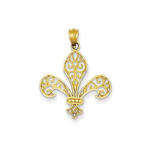 14k Yellow Gold Filigree Fleur de Lis Claddagh Pendant ()