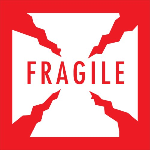 Preprinted Shipping Labels, Fragile, 4in. x 4in., Red/White,