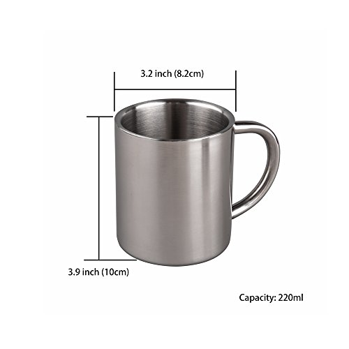 IMEEA 7.8Oz (220ml) Brushed Stainless Steel Double Wall Mugs Tea Cups Drinking Cups for Kids, Set of 2 by IMEEA (Image #6)