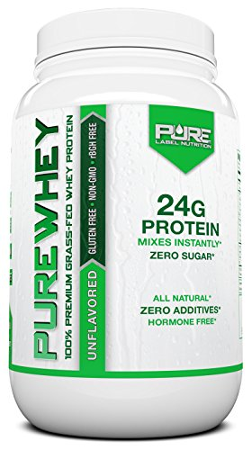 Grass Fed Whey Protein | 2lb + Unflavored Whey from Grass Fed California Cows | 100% Natural Whey w/ No Sweeteners or Added Sugars | rBHG Free + GMO-Free + Gluten Free + Preservative Free | PURE Whey (Organic Grass Fed Whey Protein)