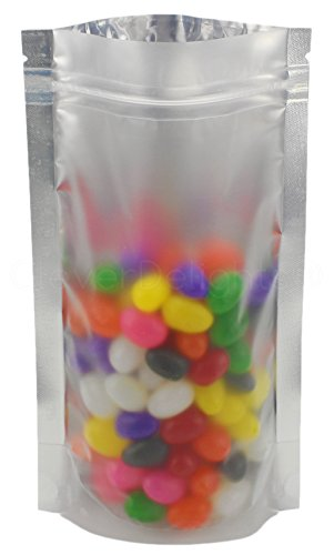 25 Pack - CleverDelights Silver/Clear Stand-Up Pouches - 5