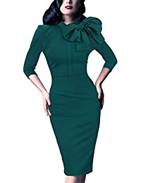 Women's 1950s Retro 3/4 Sleeve Bow Cocktail Party Evening...
