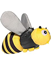 Dog Chew Toy Bee Style with Bright Color Sound Paper Squeaky Body and Chewy Rubber Plush Squeaky Interactive Toy for Small/Medium/Large Breed Indoor Outdoor