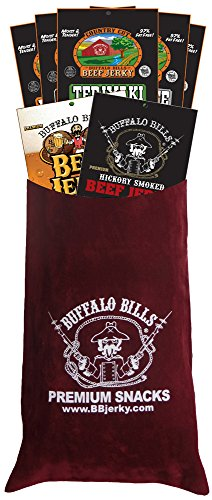 Buffalo Bills 7-Piece Low Carb Beef Jerky Sampler Burgundy Velour Wine Gift Bag (2 carbs or less) -  Choo Choo R Snacks, Inc.