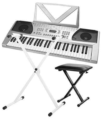 Funkey 54 Keyboard inkl. höhenverstellbarem Ständer und Sitzbank (100 Sounds, 100 Rhythmen, Netzteil, Notenständer)