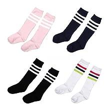 Ewandastore 4 Pairs Kids Girls Boys Toddlers Cotton Thicken Knee Long Soccer Socks Team Socks for 4-10 Years old by Ewandastore