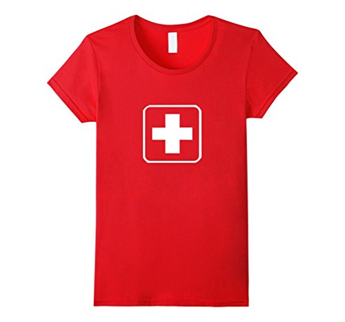 Womens White Medical Cross Nurse Lifeguard T Shirt: Red Thin Square XL Red (Lifeguard Costumes For Halloween)