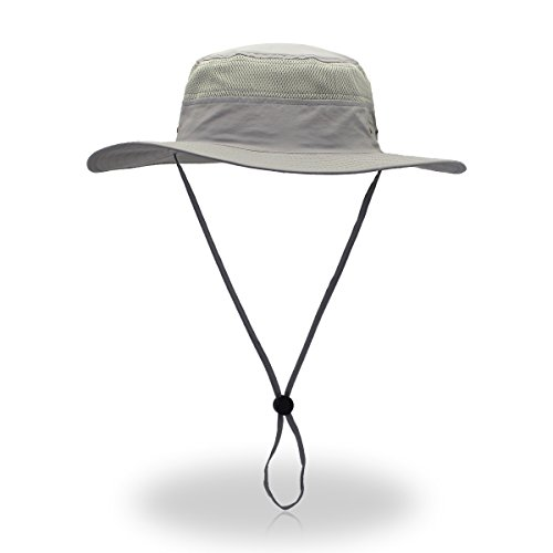 (belababy Outdoor Sun Hat Quick-Dry Breathable Mesh Hat Camping Cap Light Gray)
