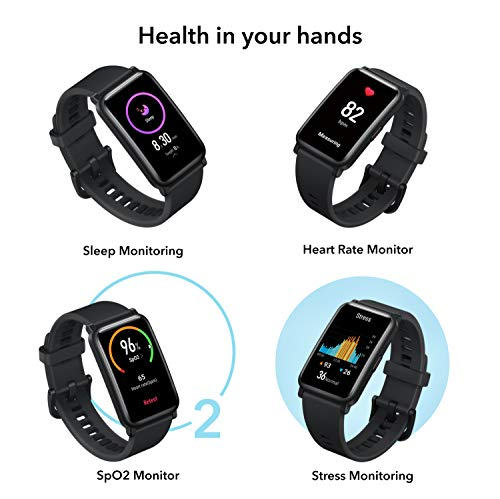 Honor Watch ES (Black, 4.16cm (1.64″) AMOLED Touch Display) 95 Workout Modes, Automatic Workout Recognition, 12 Animated Workout Courses, Fast Charge, SpO2, Stress, Sleep Monitor, Watch Face Store