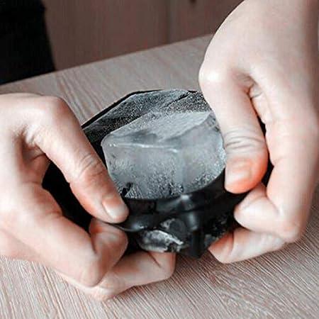 Finelyty Bandejas para Cubitos de Hielo Silicona Negra con Cubierta, 4 Cubo de Hielo Gigante Máquina para Hacer Cubos para niños con pudín de Caramelo Jugo de Leche Molde de Chocolate