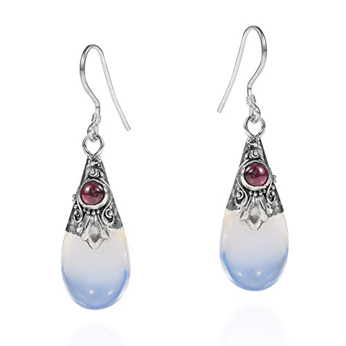 Teardrop Simulated Moonstone-Simulated Purple Garnet .925 Sterling Silver Earrings