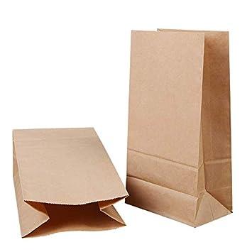 Kesote Conjunto de 48 Bolsa de Papel Kraft + 48 Pegatinas del Sello de Navidad Bolsa de Papel para Alimentos Bolsa, 27 x 15 x 9 CM