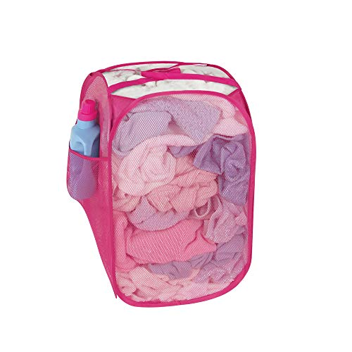 (Smart Design Pop-Up Laundry Hamper w/Easy Carry Handles & Side Pocket - Durable Fabric Collapsible Design - for Clothes & Laundry - Home Organization (Holds 2 Loads) (13 x 21 Inch) [Pink])