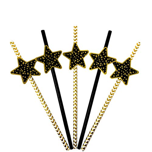 'Stars' Black & Gold Striped Paper Party Straw Decor - Classy, Decorative, Biodegradable Party Straws for New Years, Weddings, Engagement, Birthday, Graduation, or Retirement Party - Set of 24