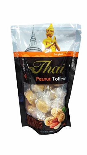 2 packs of Peanut Toffees, Delicious Snack from My Choice Thai brand, 4 or 5 strar OTOP rating approved. No artificial flavours, No artificial colours. (120 g/ pack)