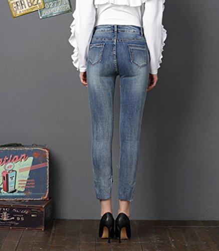 Crayon Jeans Elastique Longue Pantalon Bleu Broderie Pantalons Leggings Sentao Femme Skinny Lumire Jeans AHTqOqawW