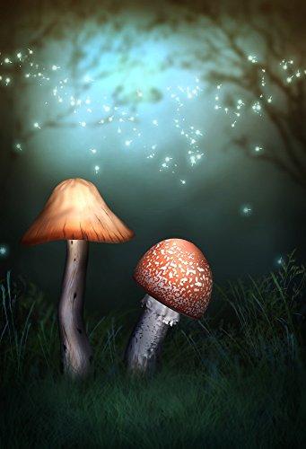 Laeacco Vinyl Thin Backdrop 5x7FT Photography Background Dreamy Forest Firefly Elf Wonderful Mushroom Dark Trees Night Scenery Background 1.5(W)x2.2(H)m Backdrop for Video Photo Studio Props
