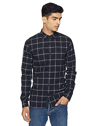 Scotch & Soda Men's Slim Fit Brushed Rocker Check Shirt, Combo dye, M