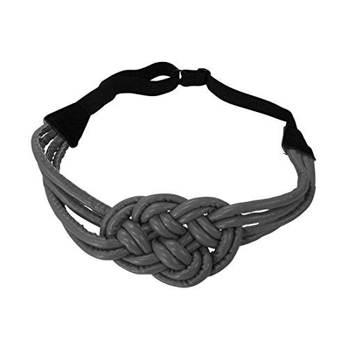 Grey Braided Leather Headwrap Hair Band Elastic Fashion Headband
