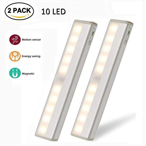 ght, Portable Wireless Under Cabinet Lighting, DIY Stick-on Anywhere Battery Operated 10 LED Night Light Bar, Sensor Light Bar for Closet Cabinet Wardrobe Stairs, 2 Pack Warm White ()