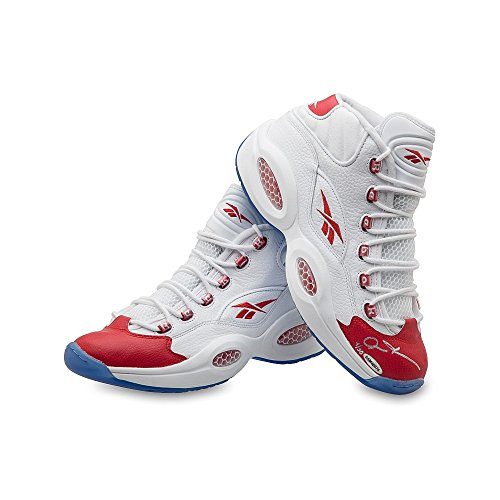 (ALLEN IVERSON Autographed Reebok Question Mid Shoes with Red Toe UDA LE 30)