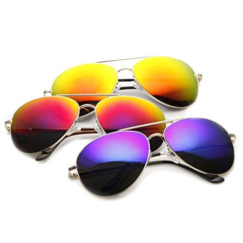 SWG Eyewear Silver Aviator Reflective Mirror UV400 Sunglasses Summer Collection Triple Pack ()