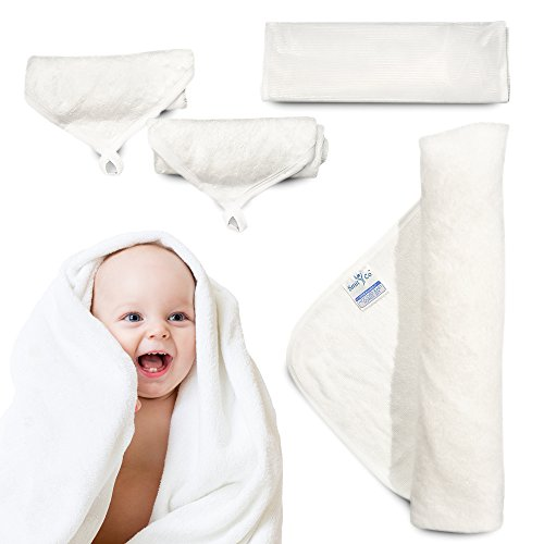 Baby Towel Set - Premium 100% Bamboo Hooded Baby Towel and Washcloths for Infant Or Newborn Babies - One 35x35 Inch Towel, 2 Washcloths, Double Stitching, Mesh Washing Bag, Super Soft and Absorbent -