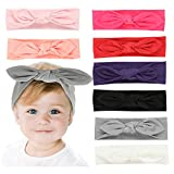 Baby Girl Headbands and Bows - Elastic Turban Head Accessories Hair Bands, Ties (Love chic)