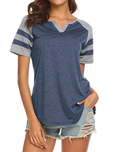 Locryz Womens Casual Notch V Neck Shirt Raglan Short Sleeve Blouse Tops XXL 03 Blue