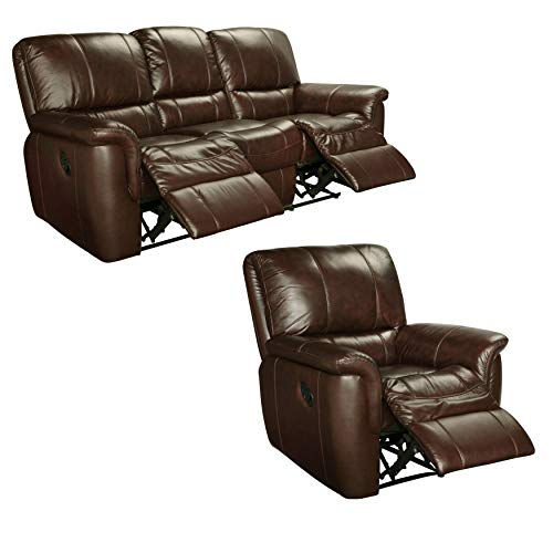 - Sofaweb.com Ethan Chestnut Brown Italian Leather Reclining Sofa and Recliner Chair