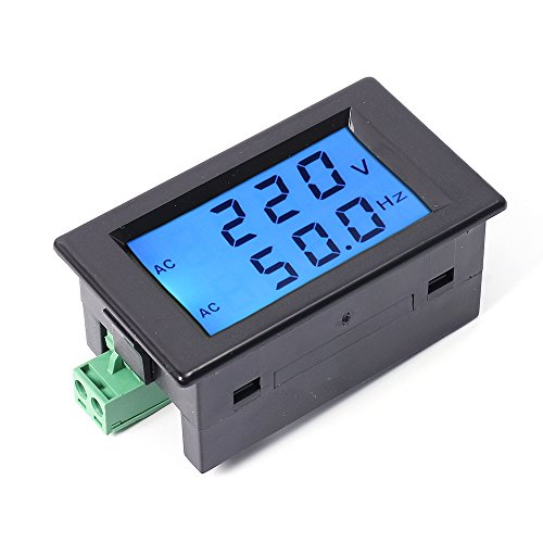 Icstation 2 in 1 AC 80-300V 45Hz-65Hz Digital Voltmeter Frequency Tester LCD Display Blue Backlight 2 Wire Black