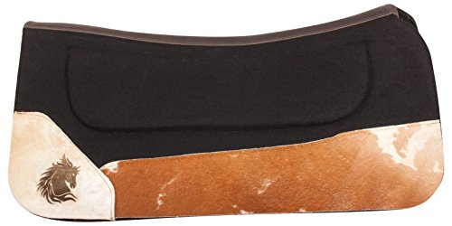 (AceRugs New Non Slip Black Gel Infused Felt Western Horse Saddle PAD All Purpose Contour Blanket Tooled Leather TACK (Horse))