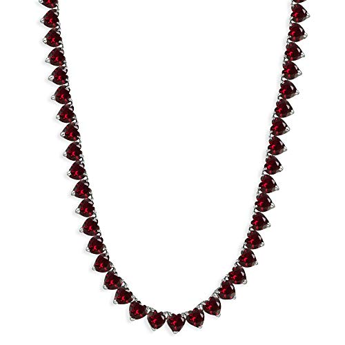 Sterling Silver Created Ruby Heart Classic Tennis Necklace, 16 Inches