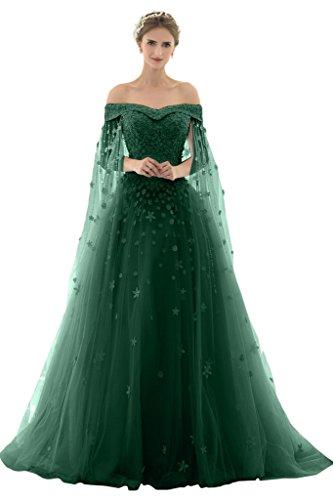 Dunkelgruen Hochzeitsgaester Romantisch Spitze Partykleid Schnuerung Abendkleid Kleid Geradekragen Ballkleid Damen Tuell Missdressy Schleppe Festkleid Lang x76I6q