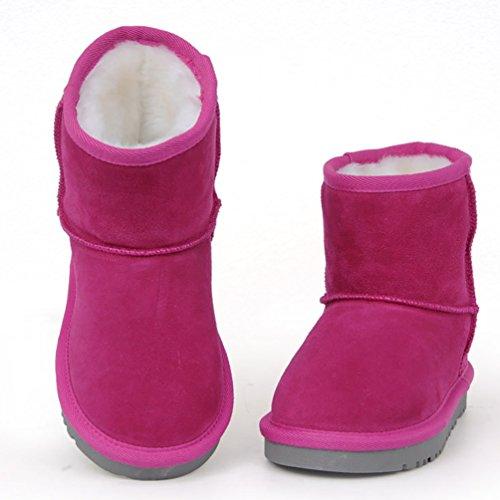 YiJee Jungen Mädchen Schlupfstiefel Winterstiefel Warm Winter Boots Klassisch Schneestiefel Rose