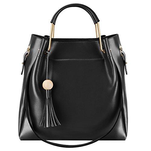 S-ZONE 3-Way Women Designer Leather Tassel Handbag Shoulder - Import It All b016ed65dd