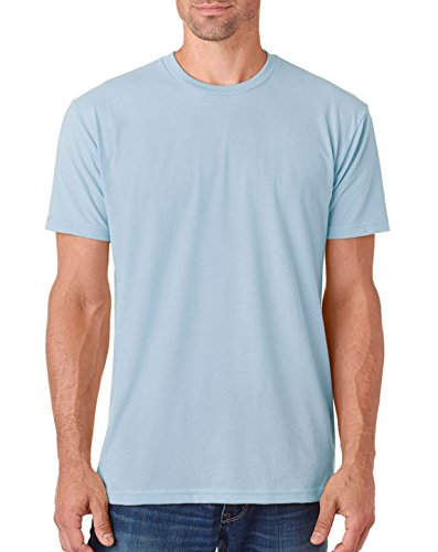 picture of Next Level Apparel 6410 Mens Premium Fitted Sueded Crew Tee - Light Blue, Extra Small