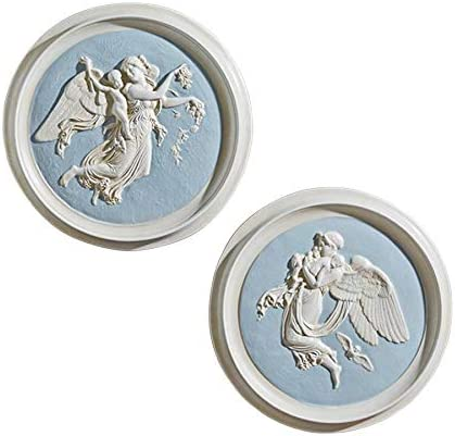 Design Toscano Morning and Night Angel Wall Plaques 1815 by Artist Bertel Thorvaldsen 1768-1844 Two Morning Night Roundels Set