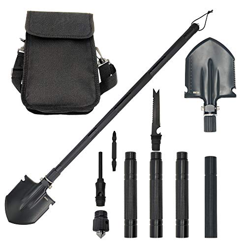 KEJIH 30-38 Inch Length Foldable and Heavy Duty Military Shovel and Pickax with Tactical Waist Pack for Camping Hiking