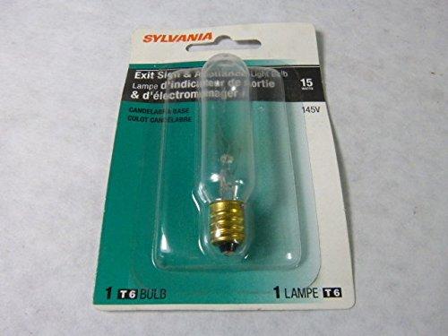 - Sylvania 15T6/BL Exit Sign & Appliance Lamp Candelabra Base 15A 145V
