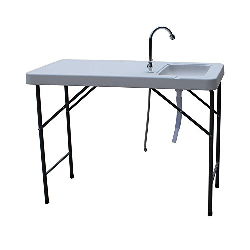 Palm Springs Folding Portable Fish Fillet Cleaning & Hunting Table with 1.5 Gal Sink Fish Fillet Tables