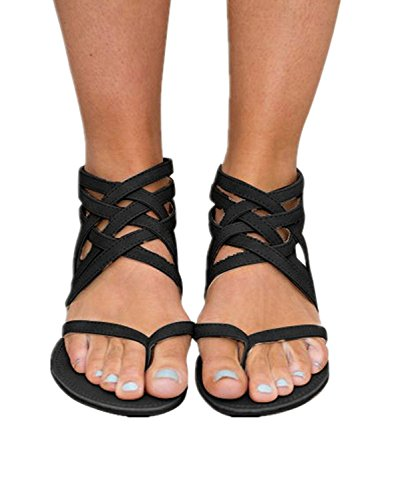 Fashare Women's Criss Cross Sandals Strappy Gladiator Thong Flat Sandals (6 B(M) US, Black)